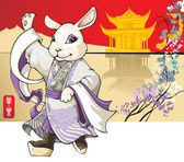 Rabbit: Chinese new year greeting card — Stock Photo