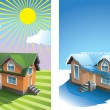 House in summer and winter — Stock Photo #4510030