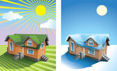 House in summer and winter — Stock Photo