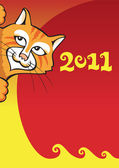 Cat - Chinese New Year background — Stock Photo