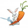 New year Rabbit with big carrot — Stock Photo #4644828