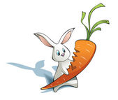 New year Rabbit with big carrot — Stock Photo
