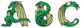 Dragons alphabet: ABC — Stock Photo