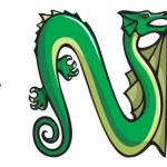Dragons alphabet: MNO — Stock Photo #5246319