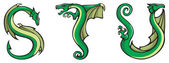 Dragons alphabet: STU — Stock Photo