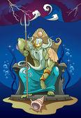 Poseidon gud över havet — Stockfoto