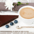 Chocolate tart and a cup of coffee — Stock Photo