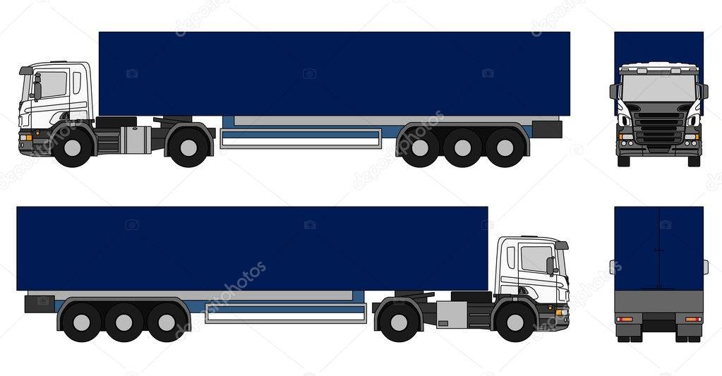 Semi Truck Outline of a Semi Trailer Truck