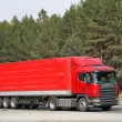 Red trailer truck — Stock Photo