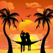 Royalty-Free Stock Vectorafbeeldingen: Lover watching sunset