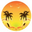 Palm Tree Sunset — Stock Vector