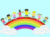 Kids on the rainbow — Stock Vector