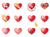 Conjunto de corazones amorosos — Vector de stock