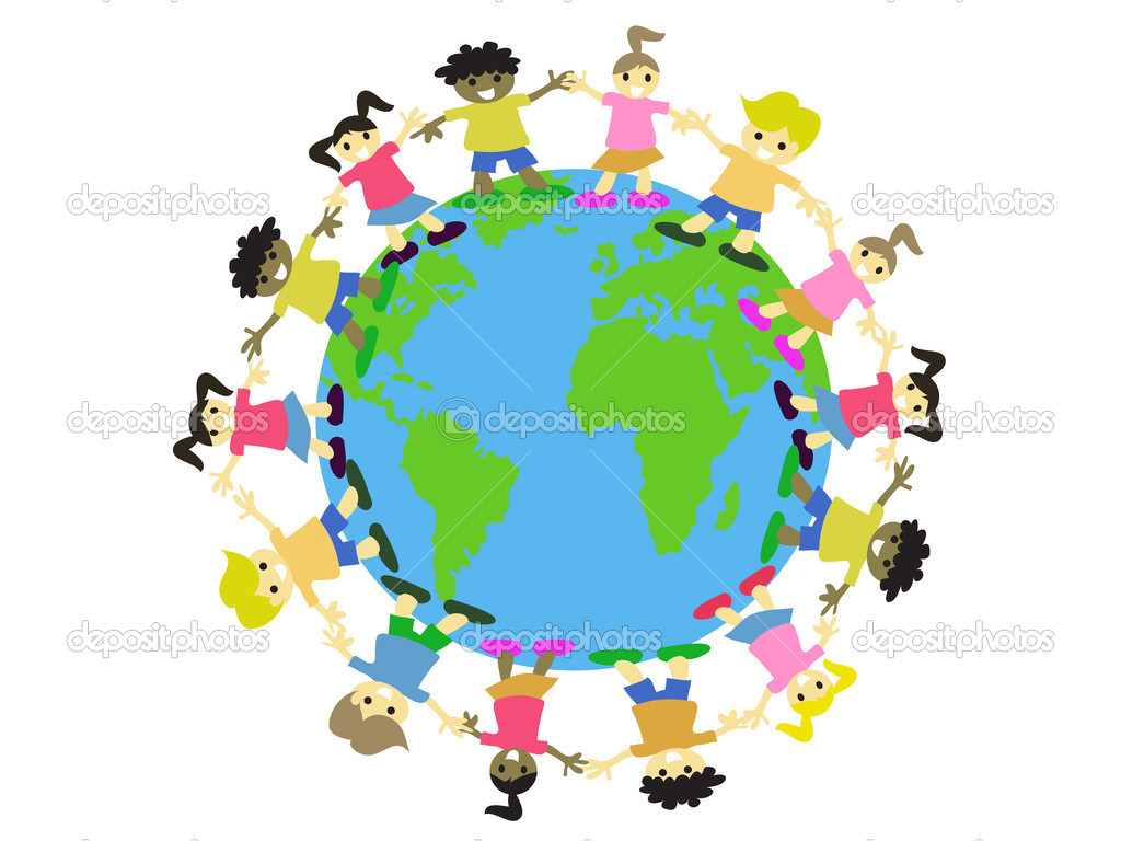 Multicultural kids surrounding on the earth — Stock Vector #4699651