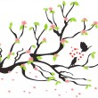 Loving birds on the spring plum tree — Vector de stock