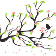 Loving birds on the spring plum tree — Stockvectorbeeld