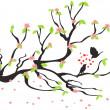 aimer les oiseaux sur le prunier de printemps — Vecteur