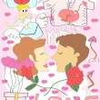 Colorful doodle Valentine's Day background — Stock Vector