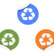 3 color recycling Stickers — Stock Vector