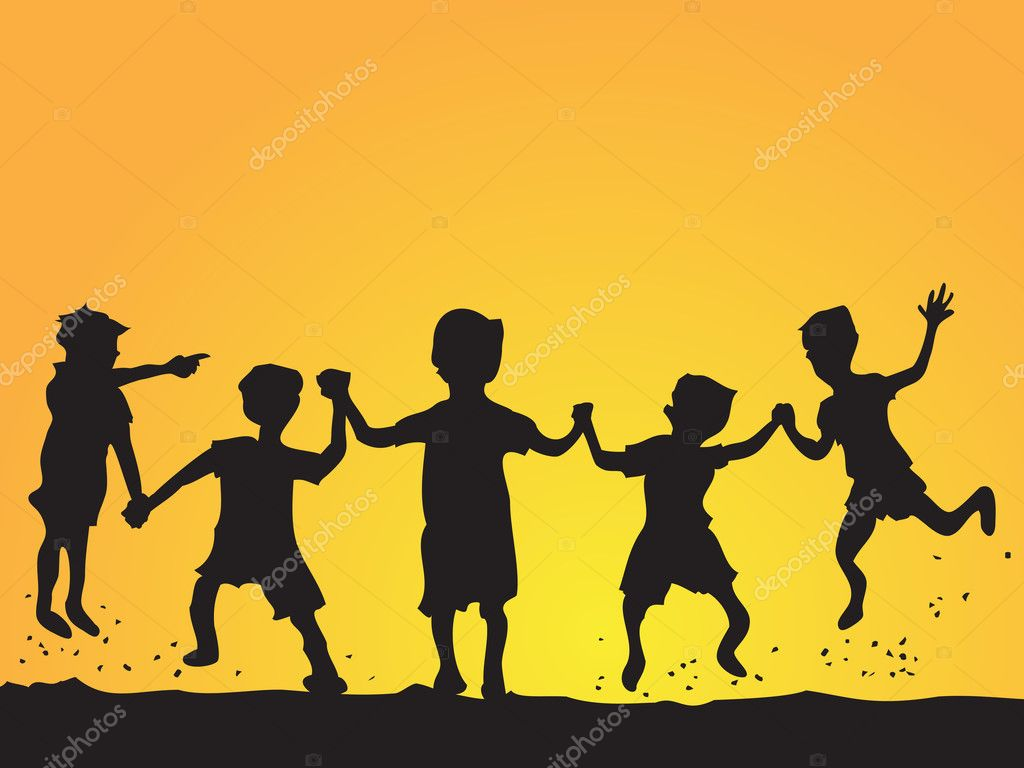 A group of happy kids playing at sunset — Stock Vector #4816563