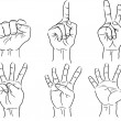 Hands making the numbers - 0 to 5 - vector — Stock Vector
