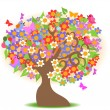 Spring tree with colorful flowers — Stock Vector