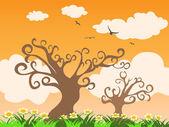 Strom a trávy při západu slunce — Stock vektor