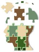 Camouflage jigsaw head — Stock Vector