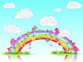 Colorful spring rainbow — Stock Vector