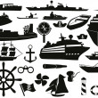 Sailing objects icon set — Stock Vector