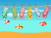 Beach sandals hanged on a rope — Stock Vector