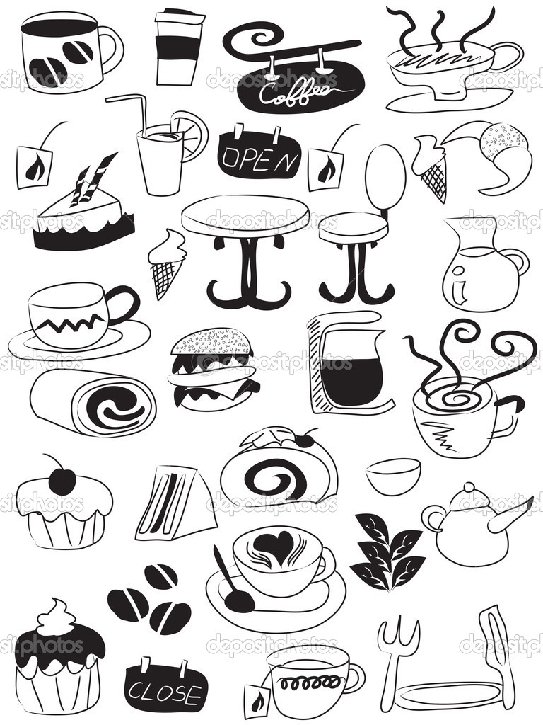 Doodle drawing of coffee and tea icons   Stock Vector #5120878