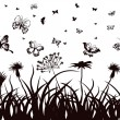 Royalty-Free Stock Vector Image: Butterflies, flowers and grass