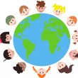 Various kids around the earth — Stock Vector