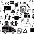 Stok Vektör: Education black icon set