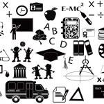 conjunto de iconos de educación negro — Vector de stock