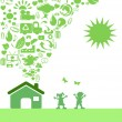 Green Eco icon house - Stock Vector