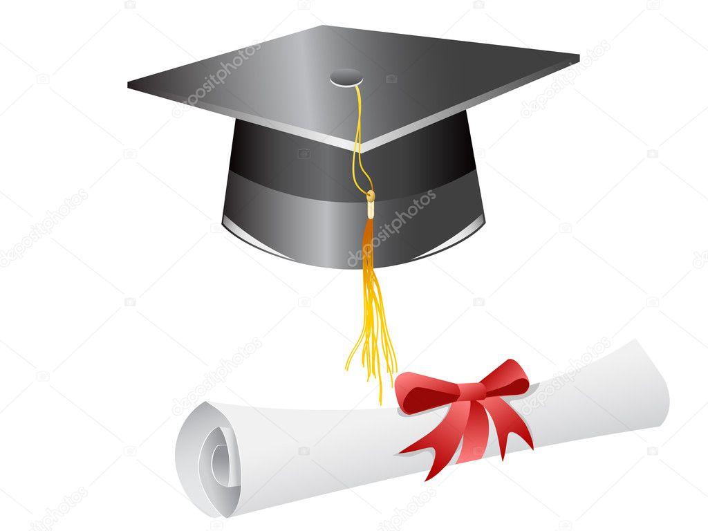 Graduation cap and diploma — Stock Vector © huhulin #5286538