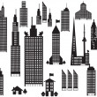 Silhouette of perspective city buildings — Stock Vector