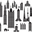 Stock Vector: Silhouette of perspective city buildings
