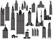 Silueta perspektivy města budov — Stock vektor