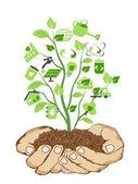 Zielone ikony trzymając się za ręce — Wektor stockowy