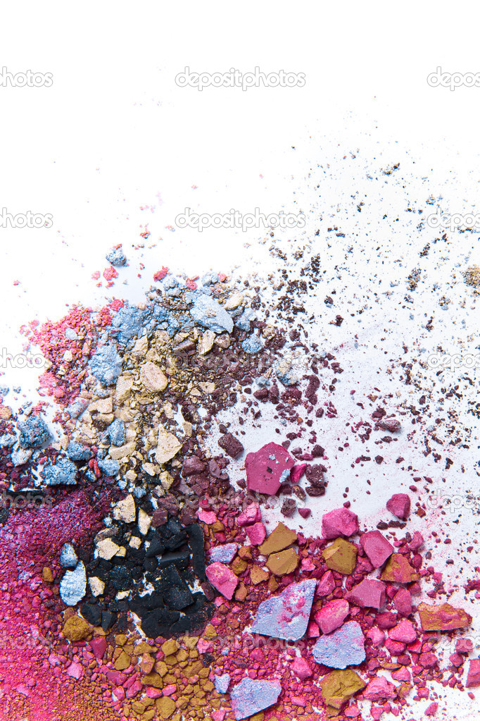 Crushed eyeshadow on white background — Stock Photo #5230017