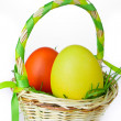 Basket with easter eggs - Stockfoto