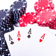 Playing cards and poker chips — Stock Photo #5294557