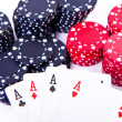 Playing cards and poker chips — Stock Photo #5294835