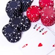 Playing cards and poker chips — Stock Photo #5295147