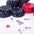 Playing cards and poker chips — Stock Photo #5295200