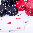Playing cards and poker chips — Stock Photo #5295422