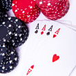 Playing cards and poker chips — Stock Photo #5295522